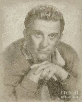 Star Trek Drawing - Kirk Douglas Hollywood Actor by Frank Falcon