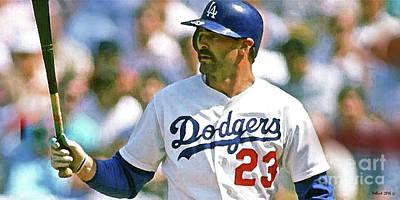 Baseball Mixed Media - Kirk Gibson, Los Angeles Dodgers by Thomas Pollart