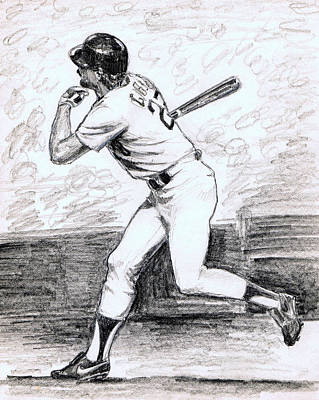 Gibson Drawing - Kirk Gibson by Mel Thompson