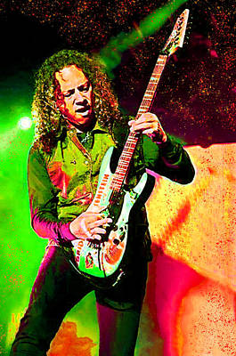 Digital Art - Kirk Hammet Of Metallica 2 by Joy McKenzie
