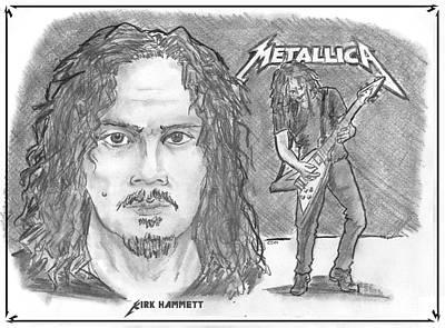 Drawing - Kirk Hammett by Chris  DelVecchio