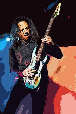 Digital Art - Kirk Hammett Of Metallica by Joy McKenzie