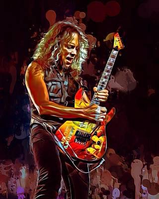 Metallica Digital Art - Kirk Hammett Painting by Scott Wallace