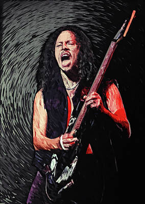Esp Guitars Digital Art - Kirk Hammett by Taylan Apukovska