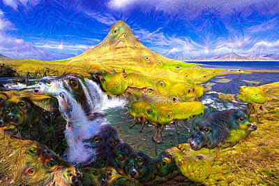 Mixed Media - Kirkjufell Waterfall Iceland Surreal Deep Dream Picture by Matthias Hauser