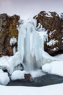 Photograph - Kirkjufellsfoss In Winter by Arterra Picture Library