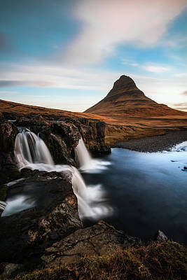 Kirkjufellsfoss Waterfalls Iceland Print by Larry Marshall