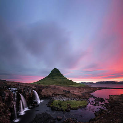 Waterfall Photograph - Kirkjufellsfoss Waterfalls Iceland Square Version by Larry Marshall