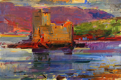 Reflecting Water Painting - Kisimul Castle And Vatersay by Peter Graham