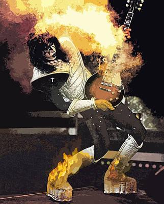 Digital Art - Kiss Ace Frehley Guitar On Fire by Joy McKenzie