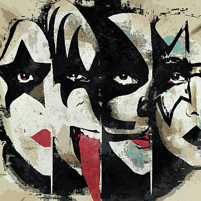 Band Digital Art - Kiss Art Print by Geek N Rock