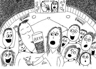 Homerun Drawing - Kiss Cam by Aaron LeDuc