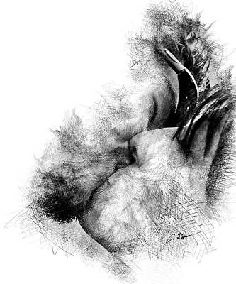 Digital Art - Kiss by Charlie Roman