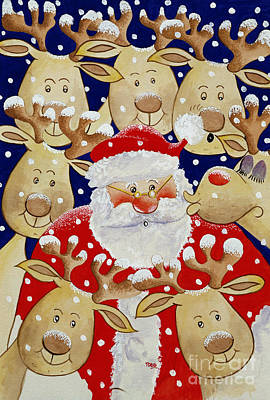 Reindeer Painting - Kiss For Santa by Tony Todd
