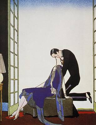 Beaux Arts Painting - Kiss by Georges Barbier