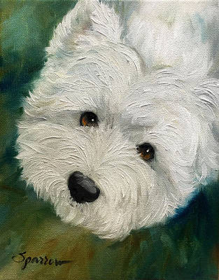 Westie Puppies Painting - Kiss Me Goodnight by Mary Sparrow