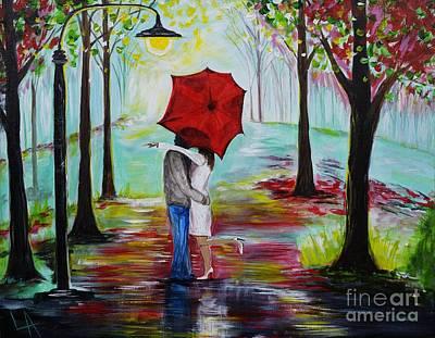 Kiss Me In The Rain Art Print by Leslie Allen