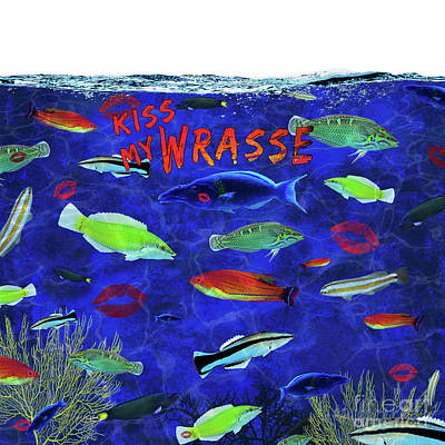 Digital Art - Kiss My Wrasse Fish by Nola Lee Kelsey