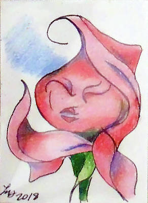 Drawing - Kiss Of A Rose by Loretta Nash