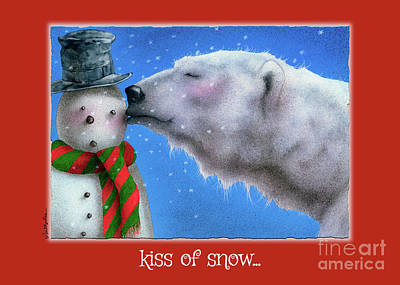 Polar Bear Wall Art - Painting - kiss of Snow... by Will Bullas
