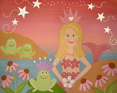 Mermaids Painting - Kiss The Frogs by Samantha Shirley