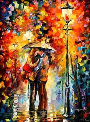 Kiss Under The Rain Art Print by Leonid Afremov