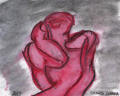 Couple Mixed Media - Kissing by Amanda Currier