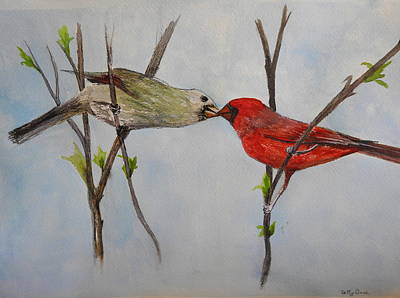 Painting - Kissing Cardinals by Betty-Anne McDonald