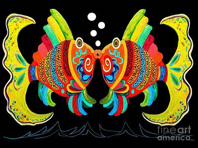 Bright Colors Painting - Kissing Fish by Eloise Schneider