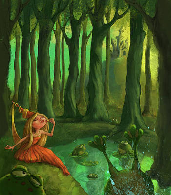 Fantasy Digital Art - Kissing Frogs by Andy Catling