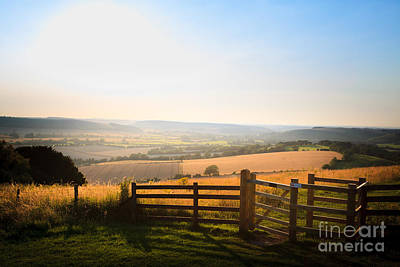 Photograph - kissing gate entrance in fence  to Butser Hill with view of Sout by Peter Noyce
