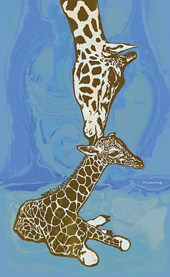 Mammals Mixed Media - Kissing - Giraffe Stylised Pop Art Poster by Kim Wang