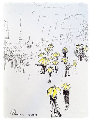 Cloudy Day Drawing - The Tour Group by Barbara Chase