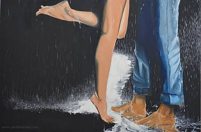 Painting - Kissing In The Rain by Jake Brown