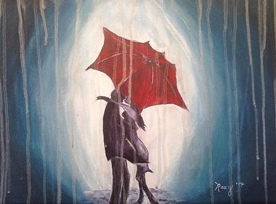 Red Umbrella Painting - Kissing In The Rain by Roxy Rich