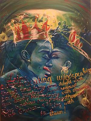 Painting - Kissing Madam Kween Octarine by Sean Ivy aka Afro Art Ivy