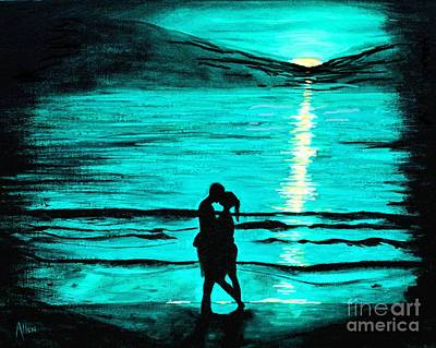 Painting - Kissing On The Beach by Leslie Allen