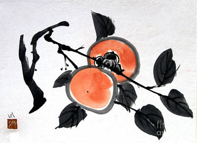 Painting - Kissing Persimmons by Fumiyo Yoshikawa