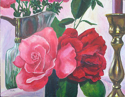 Kissing Roses Art Print by Judy Loper