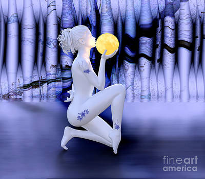 Digital Art - Kissing The Moon by Barbara Milton