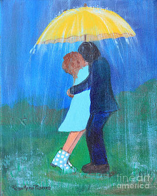 Painting - Kissing Under Yellow Umbrella by Robin Maria Pedrero