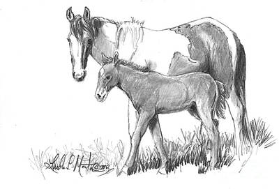 Drawing - Kissy And Jigsaw by Linda L Martin