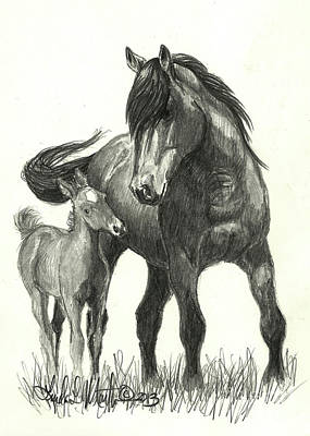 Wild Horses Drawing - Kissy And Vegas by Linda L Martin