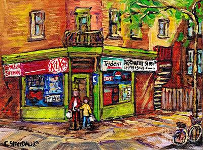 Painting - Kit Kat Corner Store Paintings St Henri Depanneur Best Canadian Original Art For Sale Montreal Scene by Carole Spandau