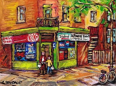 Painting - Kit Kat Corner Store Paintings St Henri Depanneur Best Canadian Original Art For Sale Montreal Scene by Carole Spandau