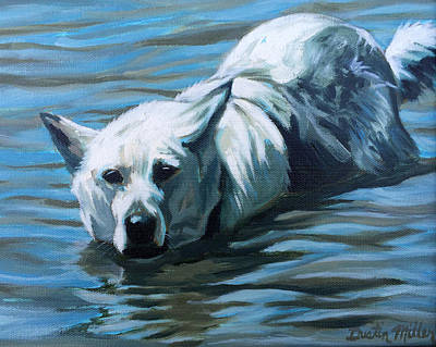 Painting - Kita Swimming The Platte by Dustin Miller
