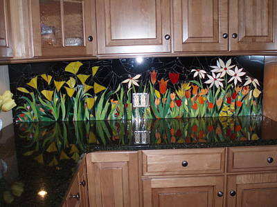 Glass Art - Kitchen Backsplash by Liz Lowder