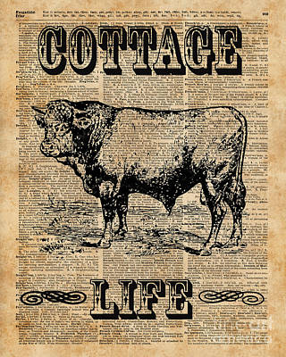 Tapestries - Textiles Digital Art - Kitchen Decor Cottage Life Cow Vintage Artwork by Jacob Kuch