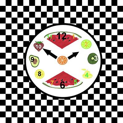 Kitchen Food Clock Art Print