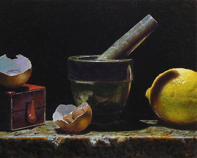 Kitchen Still Life With Red Box Art Print by Jeffrey Hayes